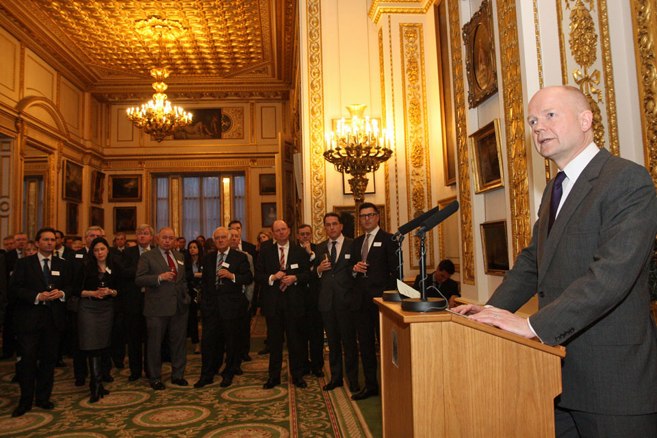 Foreign Secretary William Hague speaking at the EU-US Free Trade Agreement reception in London.