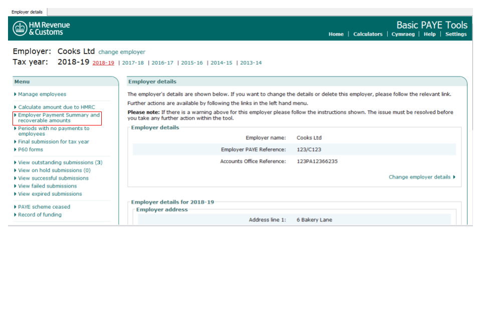 Send an employer payment summary using basic paye tools gov. Uk.