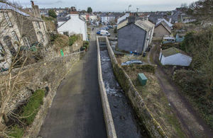 The new £9.5 million Ulverston Town Beck flood scheme includes raised flood walls and a maze of underground culverts