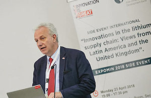 Picture of David Gardner, Director of the Department for International Trade at the British Embassy Santiago speaking at Expomin 2018.