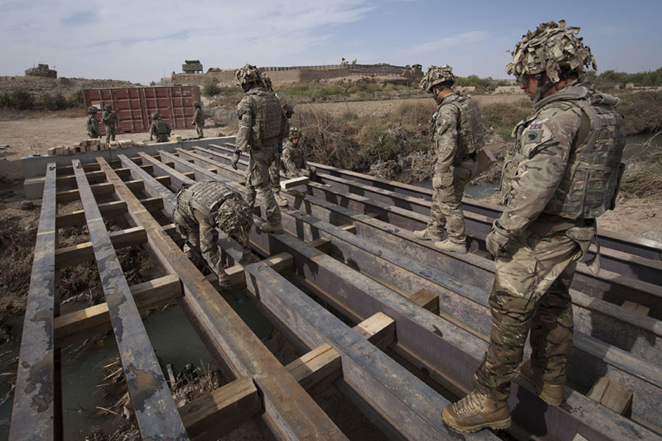Royal Engineers building a bridge