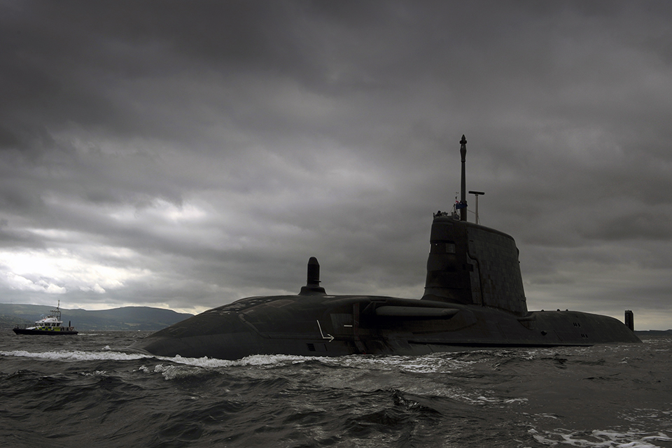 Britain's third Astute Class nuclear submarine, HMS Artful. Crown copyright.