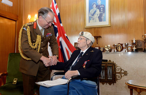 General Sir David Richards presents Commander Eddie Grenfell Royal Navy (Retired) with the very first Arctic Star medal [Picture: Leading Airman (Photographer) Keith Morgan, Crown copyright]