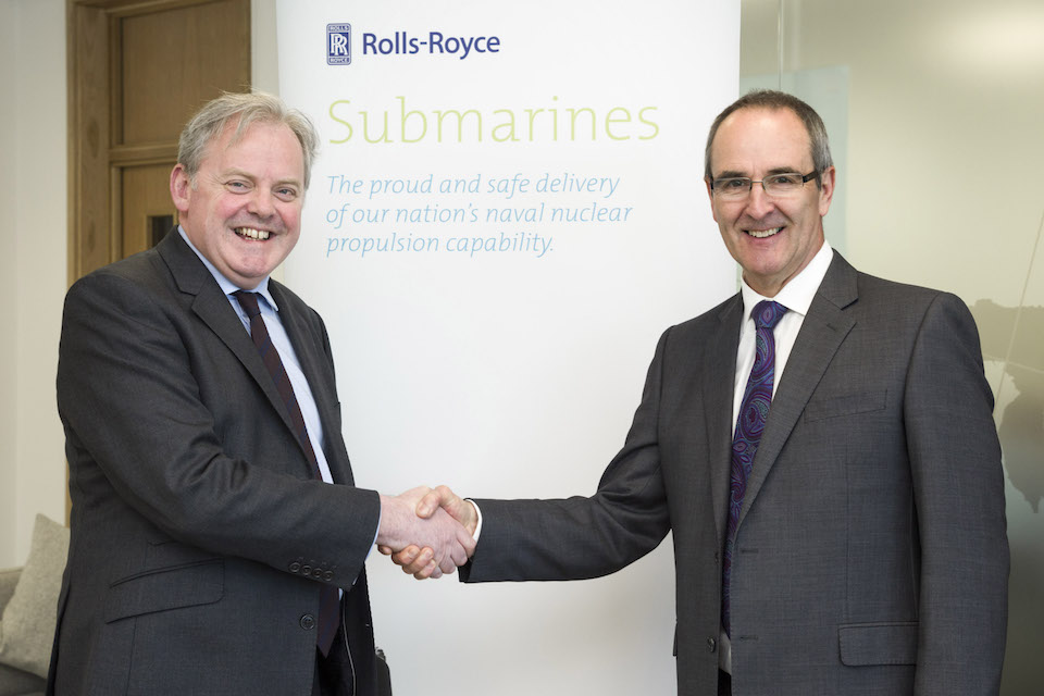 Guto Bebb MP Minister for Defence Procurement meeting with Steve Dearden President - Submarines (right) during a visit to Rolls-Royce Raynesway Derby. Crown Copyright.