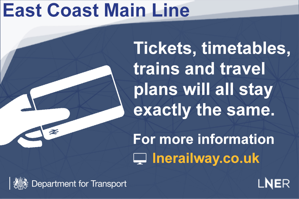London North Eastern Railway tickets, timetables, trains and travel plans will all stay exactly the same.