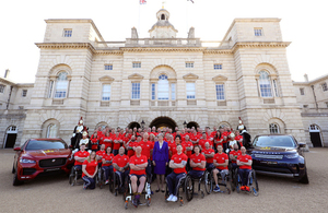 The Prime Minister, Theresa May, with the team of 72 competitors selected to represent the UK at the Invictus Games in Sydney 2018.