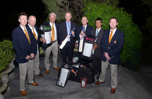 British Ambassador John Freeman together with members of the Argentine Cricket Association receives the MCC's donation