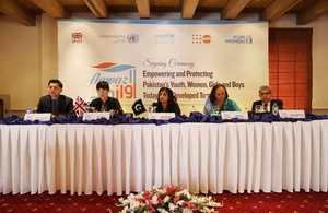 Left to Right: Mr Jamshed M. Kazi: Representative UN Women, Ms. Joanna Reid: Head of DFID Pakistan, Dr Asma Haider: Member Planning Commission of Pakistan, Ms Aida Girma: UNICEF Representative in Pakistan and Mr Hassan Mohtashami: Representative UNFPA