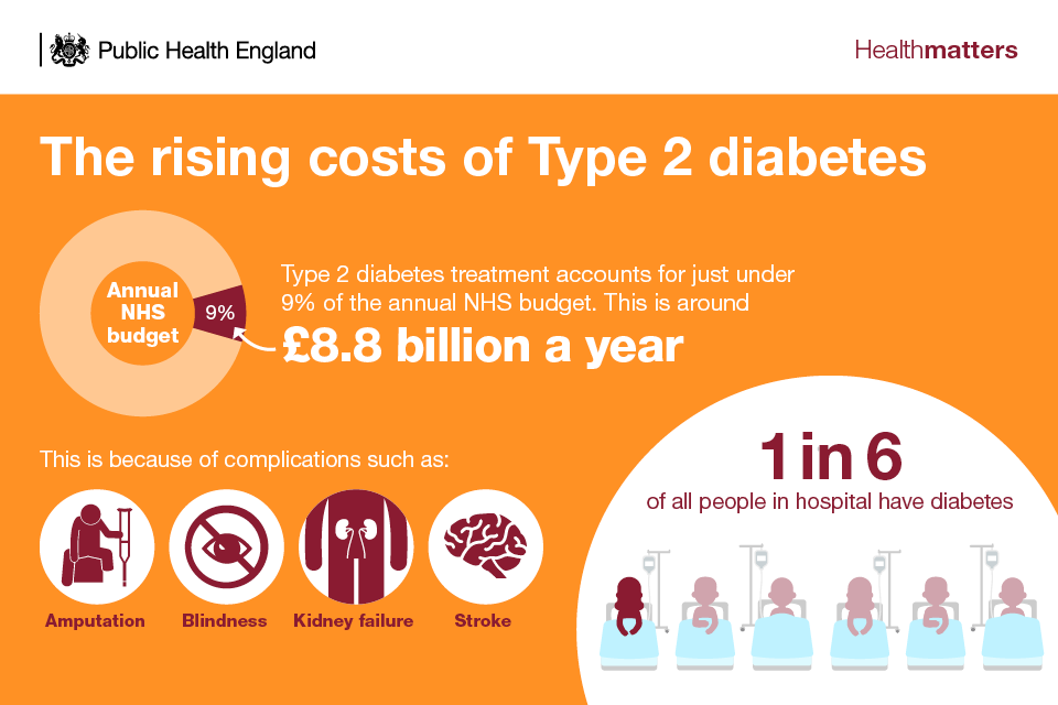 Infographic showing the rising costs of Type 2 diabetes