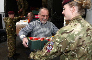 Members of 16 Medical Regiment help move the Colchester Foodbank charity to its new premises [Picture: Corporal Obi Igbo, Crown copyright]