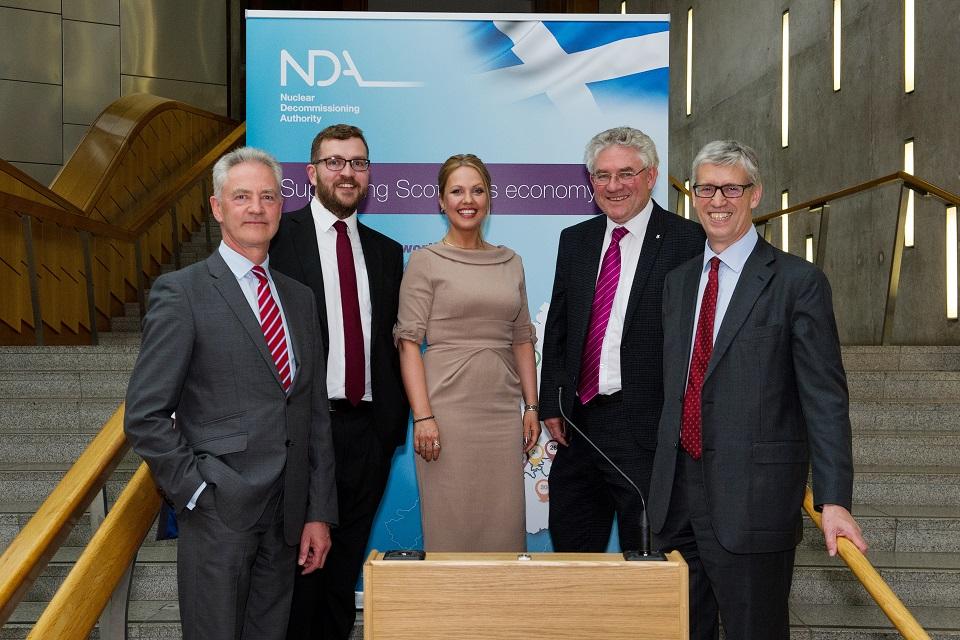 (L-R): David Peattie, NDA CEO; Oliver Mundell, MSP; Gail Ross, MSP; Kenneth Gibson, MSP; Tom Smith, NDA Chair.