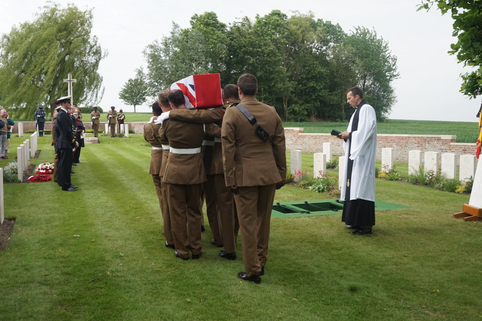 The Royal Artillery Regiment bearer party take 2nd Lt. Henderson to his final resting place (Crown Copyright), all rights reserved