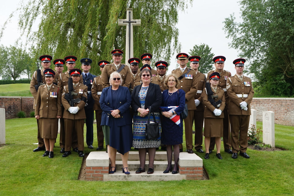 2nd Lt. Henderson's great nieces (l to r) Judith Leyman, Sarah Foot and Lucy Cocup stand with the Royal Artillery Regiment and military representatives (Crown Copyright), all rights reserved