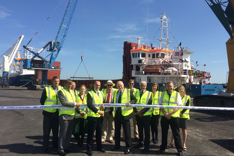 Local Growth Minister Jake Berry opening the new £10m South Quay berth ready to welcome cruise and cargo ships from around the world to Poole Harbour in the Port of Poole, Dorset