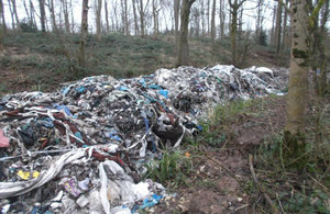Illegal commercial waste dumped at Madeley Heath