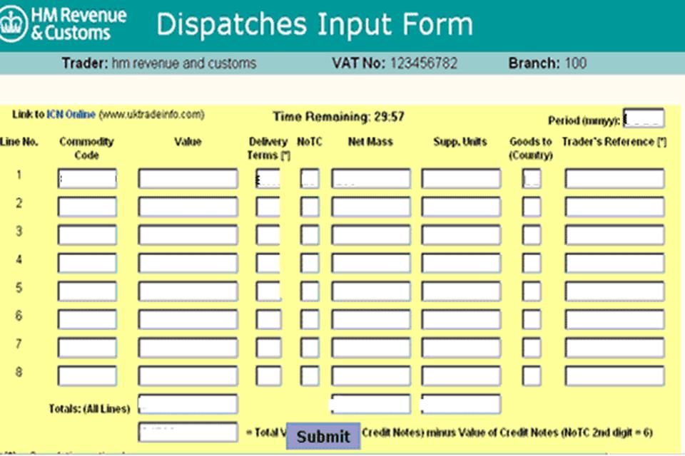 Dispatches Input Form