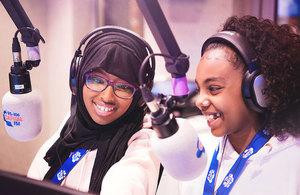 Children doing a radio broadcast at KidZania.