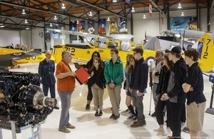 Students at Vintage Wings of Canada learning about RAF 100 Celebrations