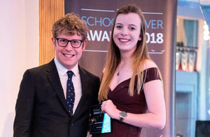Verity receiving her award from the comedian Josh Widdicombe, who hosted the evening.