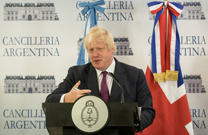 FS Johnson at a press conference at the Argentine Foreign Ministry.
