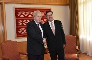 Foreign Secretary Boris Johnson and Chilean Foreign Minister Roberto Ampuero