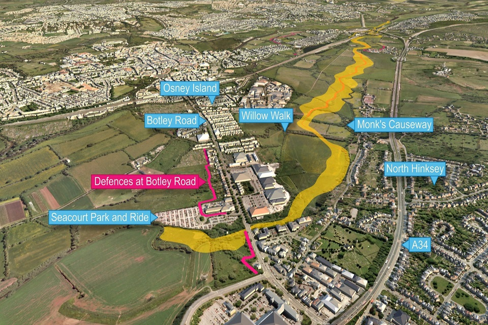 The location of the flood scheme in Oxford
