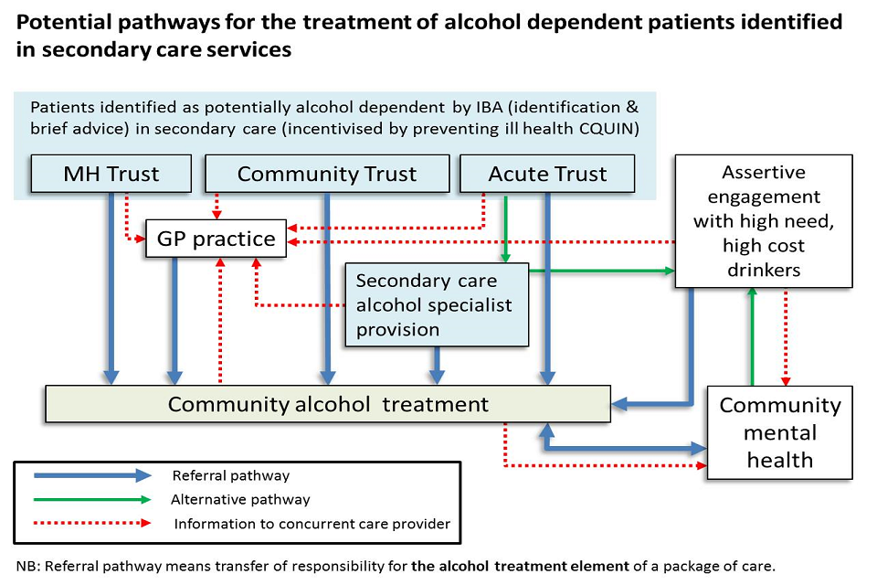 Potential pathways for the treatment of alcohol dependent patients identified in secondary care services