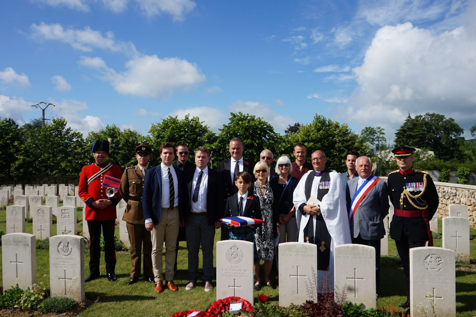 Members of the Soutar family with military representatives and local attendees, Crown copyright, All rights reserved