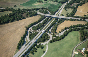 Image of the new A249 flyover and an improved junction with the M2