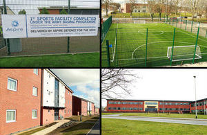 A collage of assets provided at Perham Down for the Army Basing Programme the image include a sports pitch, accommodation building and the regimental headquarters building.