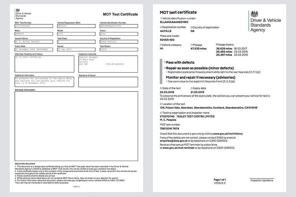 Image showing samples of the old and new MOT certificate design