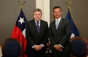 The Minister for Armed Forces, Mark Lancaster, stands alongside the Defence Minister of Chile, Alberto Espina, during an office call in the country's capital, Santiago.