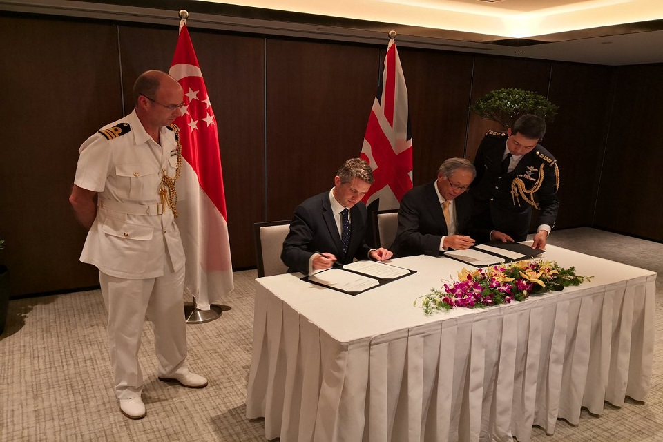 A Memorandum of Understanding, strengthening defence ties between the UK and Singapore, being signed in the margins of the summit by Mr Williamson and his counterpart Ng Eng Hen.