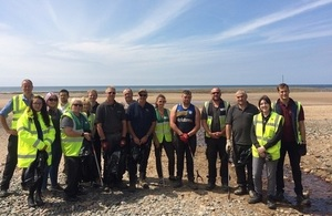 Litter pickers and refuse bags at the ready for Beach Clean at Drigg