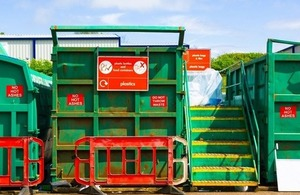 Recycling container at a recyling centre in England via Imran's Photography at Shutterstock