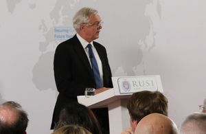 David Davis delivering his speech at the RUSI Library
