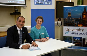 Jake Berry MP with Professor Dinah Birch, University of Liverpool Pro-Vice-Chancellor for Cultural Engagement