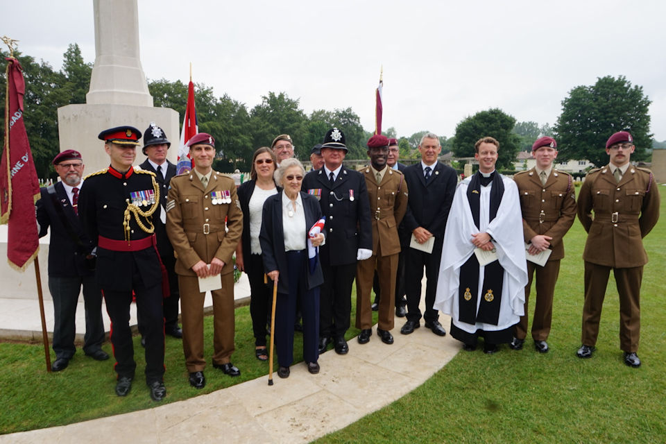 Margaret Keighley is joined by Reverend Doctor Brutus Green, Military Attaché, regimental representatives and dignitaries, Crown Copyright, All rights reserved