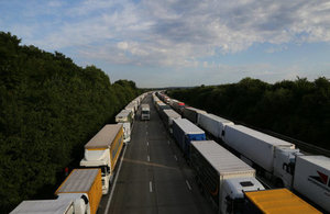 Image of many lorries on the motorway