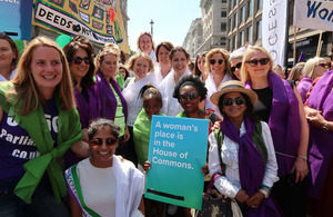 Minister for Women joins the procession through London to celebrate women's suffrage centenary