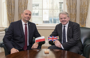 Defence Minister Guto Bebb with the Deputy Minister for the Polish Ministry of National Defence Sebastian Chwalek. Crown Copyright.