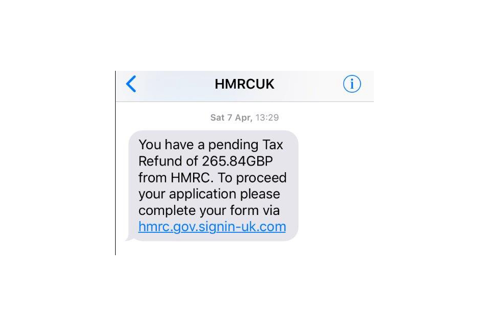 Example of a bogus HM gov mobile text message which is trying to get the user to click on a hyperlink and enter personal details.
