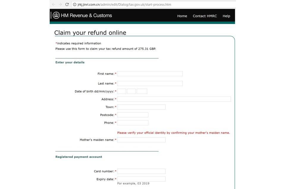 Example of a spoof Tax Refund website which is asking the user to fill in personal details to get a refund.
