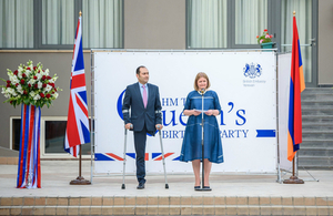 Her Majesty's Ambassador to Armenia Judith Farnworth and the Minister of Justice of the Republic of Armenia Artak Zeynalyan at the Queen's Birthday Party in Yerevan