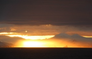 Sunset over the Antarctic