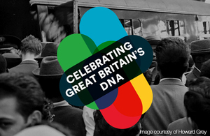 "Black and white photo of Windrush arrivals with logo and text reading ""Celebrating Great Britain's DNA"""