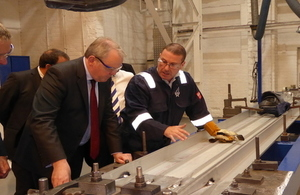 Defence Minister Guto Bebb at William Fairey engineering in Stockport.