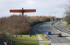 Image of road by the 'Angel for the north' statue.