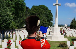 A bugler from the Band of the Queen's Division. Crown Copyright. All rights reserved