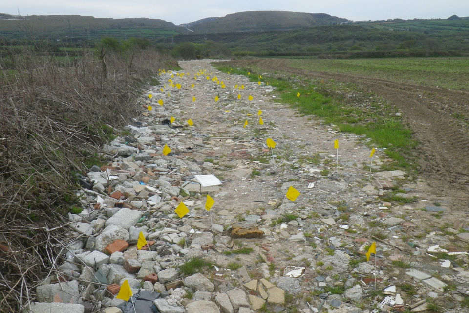 A farm track made of rubble and littered with little yellow flags